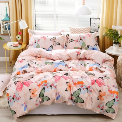Kawaii Butterfly Print Pink 3/4 PCS Bedding Set