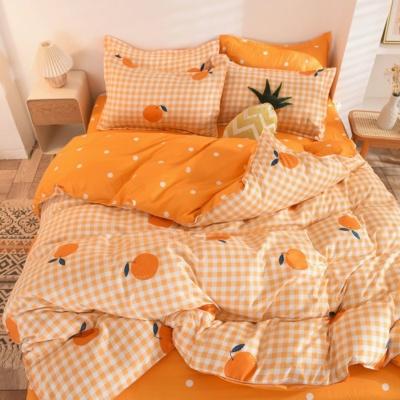 Kawaii Orange Print Plaid 3/4 PCS Bedding Set