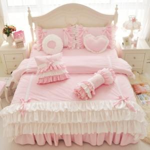 Kawaii Pink Princess Korean Style Ruffle Bow Fleece Fabric Bedding Set