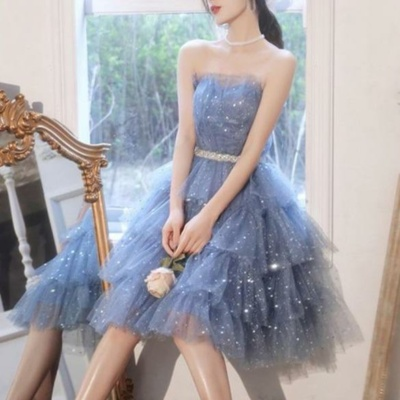 Dreamy Kawaii Blue Ruffle Sparkles Strapples Puffy Tulle Dress