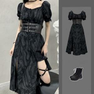 Kawaii Cool Alternative Grunge Open Leg Long Black Gray Dress