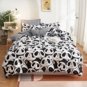 Kawaii Panda Black White 3/4Pcs Bedding Sets