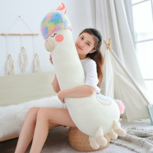 Kawaii Fluffy Rainbow Hair Alpaca Long Snuggle Buddies