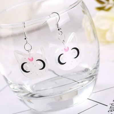 Black Cat Luna Resin Earrings