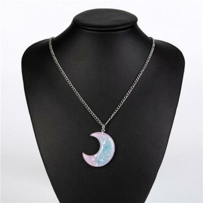 Kawaii Pastel Moon Charm Necklace