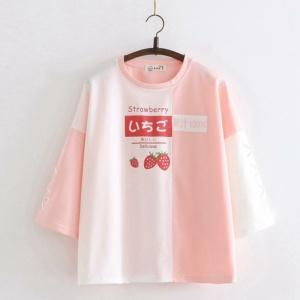 Kawaii Strawberry Avocado Ribbon Tee