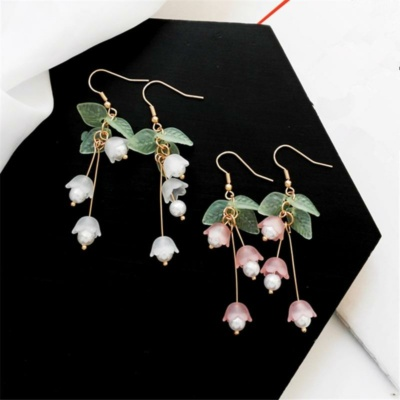 Kawaii Pastle White Jasmine Drop Earrings