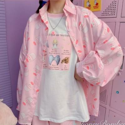 Kawaii Oversize Strawberry Milk Bottle Shirt