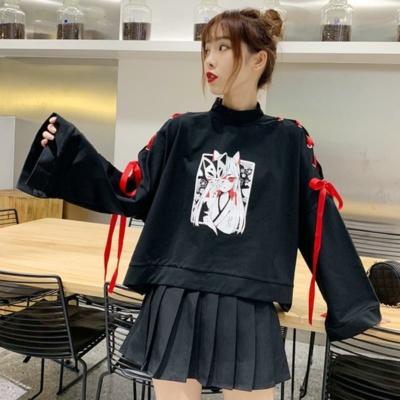 Kawaii Anime Black Ribbon Flare Loose Top