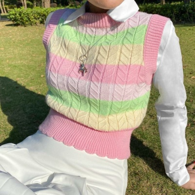 Kawaii Colorful Candy Striped Knit Vest