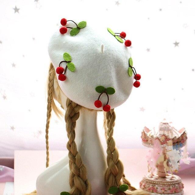 Kawaii Lots O Cherries White Beret