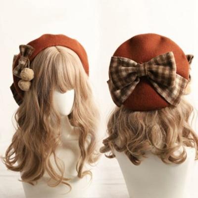 Kawaii Mori Girl Brown Plaid Bow Beret