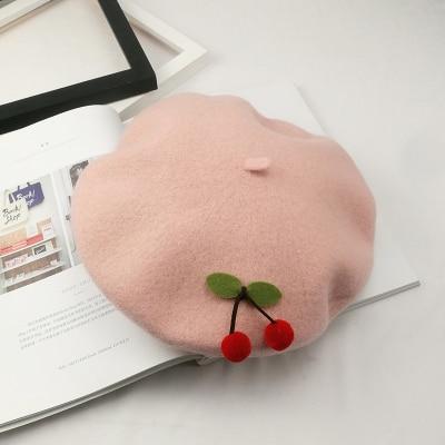 Kawaii Cherry Pink Beret