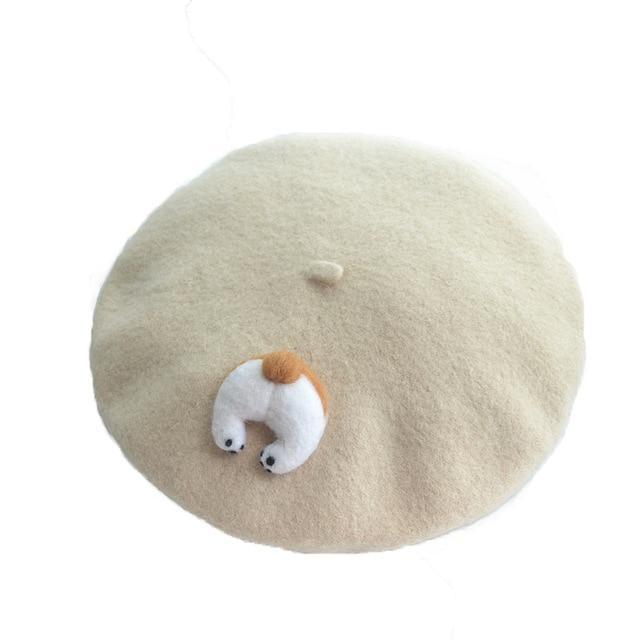 Kawaii Cream Corgi Beret