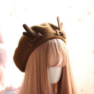 Kawaii Little Deer Dark Brown Beret