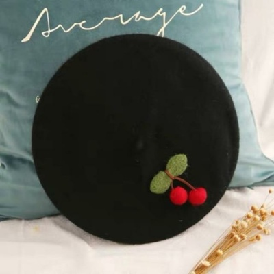 Kawaii Black Cherry Beret Hat