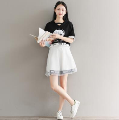 Kawaii Quiet Girl Two Piece High Waist Skirt And Crop Shirt Set