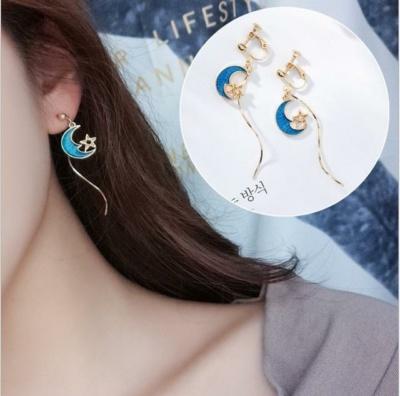 Kawaii Blue Moon Star Earrings