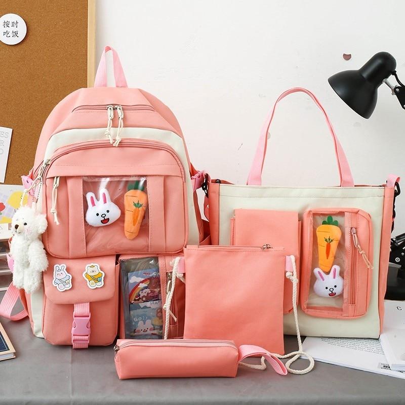 4 Pcs Sets Children'S School Backpack Kawaii Women'S Backpack Bookbag School Bags For Teens Girls Mochilas 2021