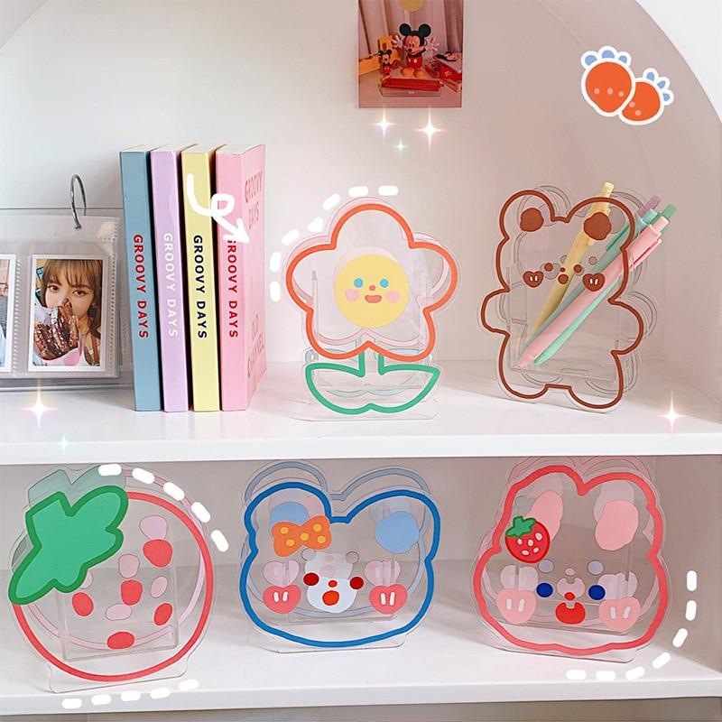 Ins Kawaii Acrylic Pen Holder Desktop Organizer Creative Cute Bear Bunny Office Stationery Cosmetics Transparent Storage Box