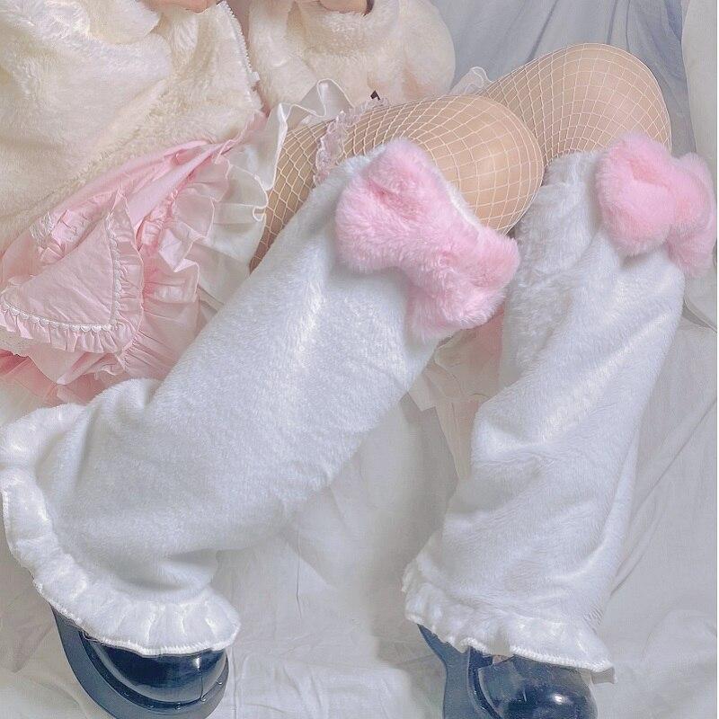 Japanese Harajuku Style Girls Sweet Pink Bow Leg Warm Socks Lolita Cute Winter Velvet Foot Warmer Socks