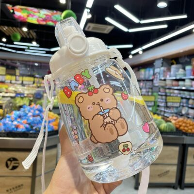 Big Kawaii Water Bottle With Straw & Strap 1300Ml