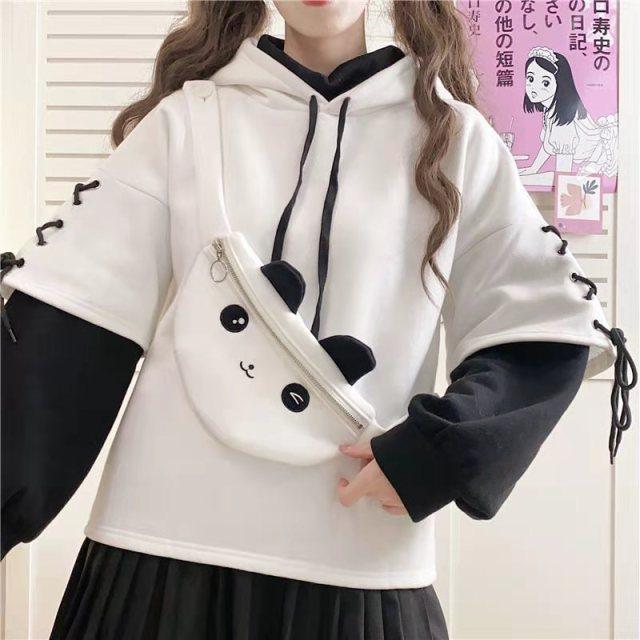 Kawaii Panda Pocket Patchwork Hoodie