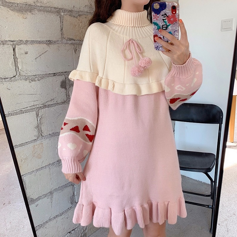 Autumn Winter Women Sweet Lolita Knitted Dress Cute Patchwork Ruffles Pink Outwear Spring Fashoin Girly Sweaters Mini Dresses