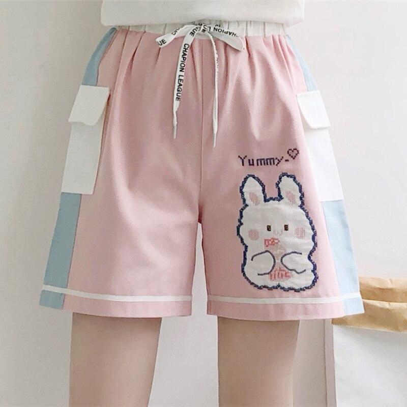 Cartoon Rabbit Embroidery High Waist Casual Women Cotton Short 2021 Summer Sweet Style Korean Fashion Ladies Cute Kawaii Bottoms