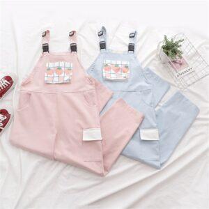 Harajuku Kawaii Strawberry Print Strap Pants
