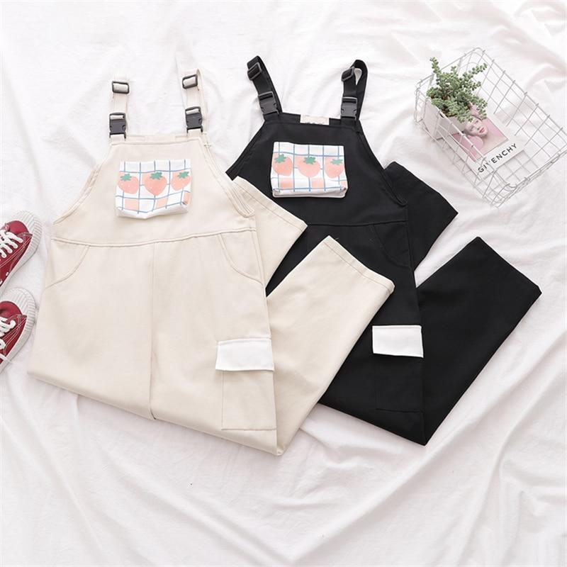 Harajuku Kawaii Strap Pants Women Sweet Plaid Strawberry Print Casual Trousers Female Pink Overalls Girls Cute Vintage Jumpsuit