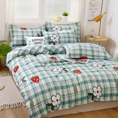Kawaii Bedding Strawberry Mint Checkered Set