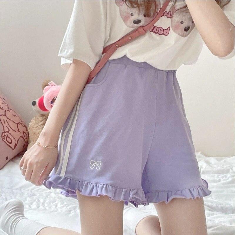 Japanese Lolita Kawaii Shorts Women Fashion Casual Sweet Cute Pink Trousers Bowknot Ruffle Pretty Korean Clothing Summer 2021