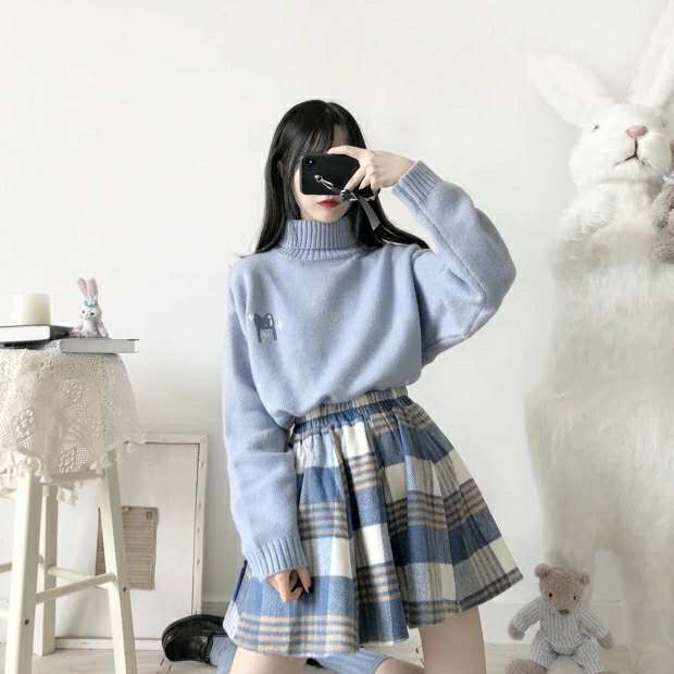 Merry Pretty Spring 2 Piece Set Women'S Set Blue Sweater And Plaid Pleasted Skirt Set 2 Pieces Outfits Women Matching Set