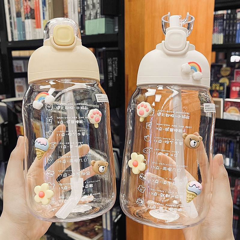 New Straw Water Bottles With Stickers 1200Ml Cute Big Belly Bottle For Water Cup Flip Top Lid Clear Drinkware Gym Sports Kettle