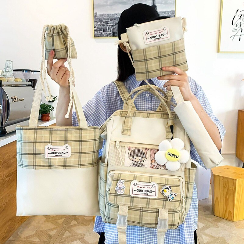 Plaid Women'S Backpack 4 Pcs Set School Backpacks Kawaii School Bags For Girls Bookbags