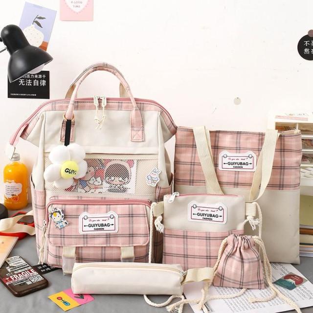 Kawaii Preppy Plaid Backpack 4 Pcs Set