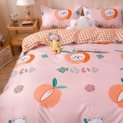 Kawaii Peach Pink Checkered Bear Bedding Set