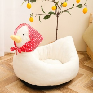 Kawaii Duck With Red Scarf Pet Bed