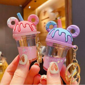 Mickey Donut Milk Tea Cup Keychain