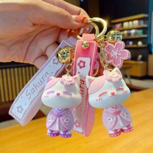 Japanese Sakura Lucky Cat Keychain