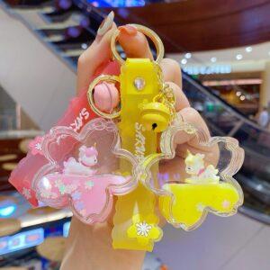 Sakura Quicksand Unicorn Keychain