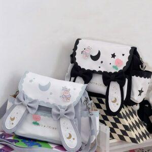 Kawaii Preppy Bunny Ears Tote Bag