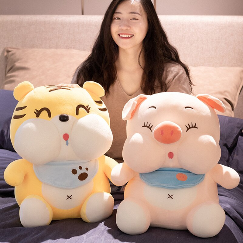 23~55Cm Drooling Bib Pig&Tiger Doll Cute Fatty Cartoon Animals Plush Toy Stuffed Sitting Elastic Plushies For Christmas