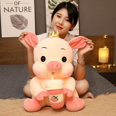 Kawaii Crown Piggy Squishy Stuffed Plush Toy