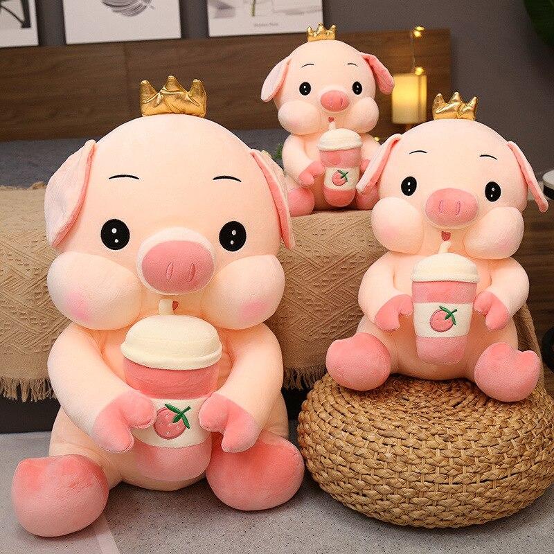 35~65Cm Sitting Crown Pig Doll Drinking Strawberry Bubble Tea Squishy Stuffed Cute Animal Elastic Plush Toy Children Present