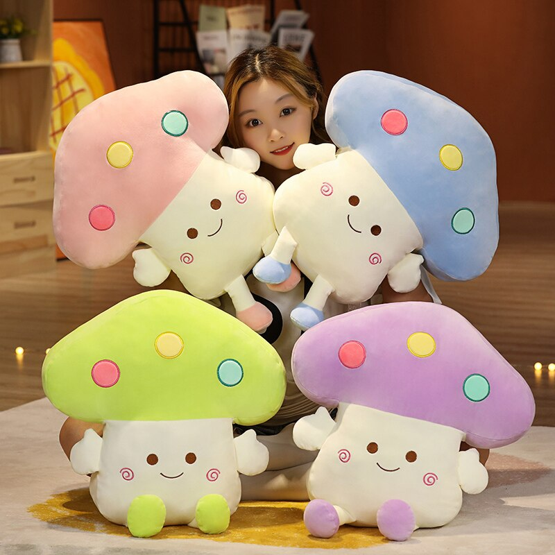 53*43*43Cm Squishy Cartoon Mushrooms With Holes Winter Hands Warm Stuffed Colorful Cute Plant Short Plush Pillow For Kids