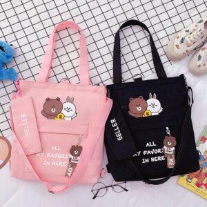 Kawaii Happy Bear Couple Tote Bag 2 Set